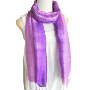(セール 特価)スカーフ ロングスカーフ 手紡ぎ 手織り シルク グラデーション(紫系)レディース メンズ 襟元 冷え 防寒 対策 紫外線 ギフト cutemania