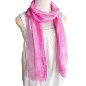 (セール 特価)スカーフ ロングスカーフ 手紡ぎ 手織り シルク グラデーション(ピンク系)レディース メンズ 襟元 冷え 防寒 対策 紫外線 ギフト cutemania