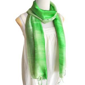 (セール 特価)スカーフ ロングスカーフ 手紡ぎ 手織り シルク グラデーション(黄緑系)レディース メンズ 襟元 冷え 防寒 対策 紫外線 ギフト cutemania