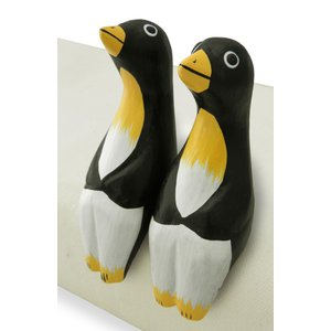 ペンギン 置物 木彫り お座り ペア 2個セット(ウェディング ギフト 引越し 新居 新築 祝い 記念品)可愛い バリ島 アジア雑貨|cutemania