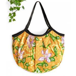 グラニーバッグ ショルダーバッグ トートバッグ バティック柄(黄色)軽い 折り畳める 布バッグ ハンドメイド|cutemania