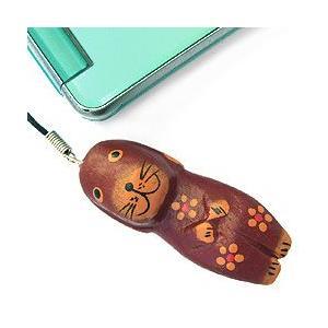 ストラップ 木彫り 動物(茶犬)携帯ストラップ キーホルダー バッグチャーム 可愛い ギフト 記念品 アジア雑貨|cutemania