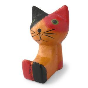 猫 雑貨 置物 木彫り 足投げ出し猫(三毛ネコ)バリ猫 置物 可愛い癒し系 ギフト バリ島 アジア雑貨|cutemania