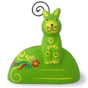 ウサギ 置物 雑貨 木彫り お座り子うさぎカード立て(黄緑)写真立て フォトスタンド ギフト 記念品 アジア雑貨|cutemania