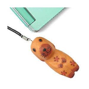ストラップ 木彫り 動物(薄茶犬)携帯ストラップ キーホルダー バッグチャーム 可愛い ギフト 記念品 アジア雑貨|cutemania