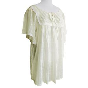 ブラウス チェニック コットン リボン&レース(オフホワイト)フリーサイズ 綿100% 五分袖 インド綿 体型カバー|cutemania