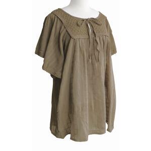 ブラウス チェニック コットン リボン&レース(ベージュブラウン)フリーサイズ 綿100% 五分袖 インド綿 体型カバー|cutemania