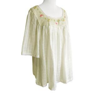 ブラウス コットン 刺繍&レース(オフホワイト)フリーサイズ 綿100% 五分袖 インド綿 体型カバー|cutemania