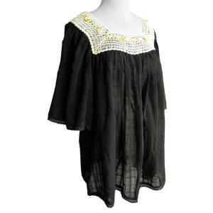 (セール 特価)ブラウス コットン 刺繍&レース(ブラック)フリーサイズ 綿100% 五分袖 インド綿 体型カバー|cutemania