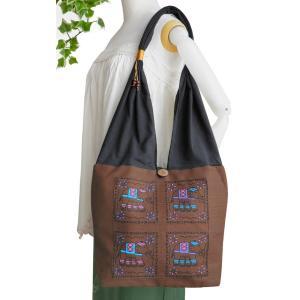 ショルダーバッグ A4収納 肩掛けバッグ トートバッグ ゾウ柄布使い(茶)たっぷり 収納 アジア雑貨 エスニック|cutemania