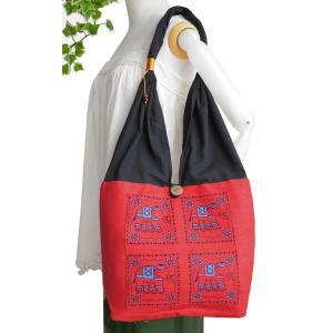 ショルダーバッグ A4収納 肩掛けバッグ トートバッグ ゾウ柄布使い(赤)たっぷり 収納 アジア雑貨 エスニック|cutemania