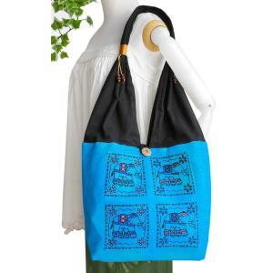 ショルダーバッグ A4収納 肩掛けバッグ トートバッグ ゾウ柄布使い(青)たっぷり 収納 アジア雑貨 エスニック|cutemania