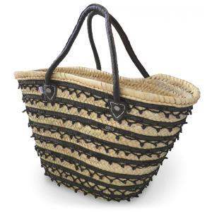かご バッグ モロッコ マルシェバッグ ビーズ使い パームリーフ素材 トートバッグ 大容量 ハンドメイド|cutemania