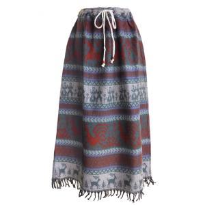 スカート ロング 厚手 あったか 起毛 手織り 保温 防寒 オーバースカート(A)フリーサイズ ウエストゴム&ストリング 洗濯可能|cutemania