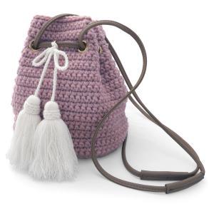 バッグ 巾着 ニット 編み上げ 毛糸 ショルダーバッグ 斜めがけバッグ レディース タッセル付き(クラウディ ピンク)|cutemania
