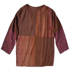 (アウトレット 特価)オールドシルク プルオーバー ブラウス アジアン衣料 古布 アンティーク 男女兼用 ゆったりサイズ|cutemania