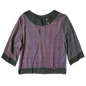 (アウトレット 特価)オールドシルク プルオーバー ブラウス 七部袖 アジアン衣料 古布 アンティーク ゆったりサイズ|cutemania