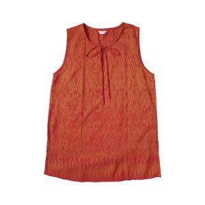 (アウトレット 特価)オールドシルク ノースリーブ ブラウス チュニック アジアン衣料 古布 アンティーク ゆったりサイズ|cutemania