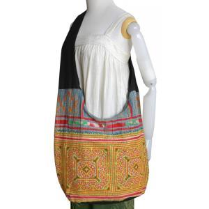 (アウトレット 特価)モン族 古布 ショルダーバッグ メンズ レディース 大型 たっぷり 収納 少数民族 アジア雑貨 アジアン|cutemania