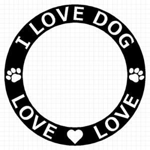 I LOVE DOG 04 犬 8cm用オプション ステッカー|cuttingsoul