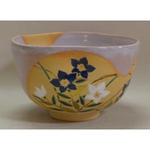 <茶道具・茶碗>掛分・桔梗の絵茶碗 小野山若水作|cyadougu-hougadou