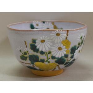 <茶道具・茶碗>灰釉・菊の絵茶碗 小野山若水作|cyadougu-hougadou
