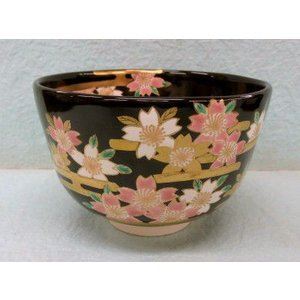 色絵 夜桜の絵の茶碗 南口閑粋作|cyadougu-hougadou