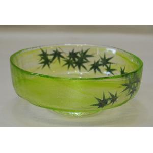 ガラス馬盥茶碗 青楓の絵 広畑久仁彦作 夏のお茶碗 お抹茶が映えます|cyadougu-hougadou