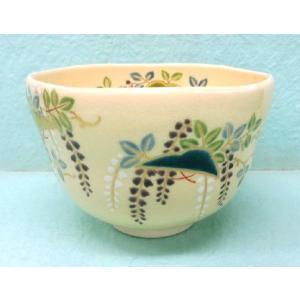 <茶道具・茶碗>藤に傘の絵茶碗 水無月窯作|cyadougu-hougadou