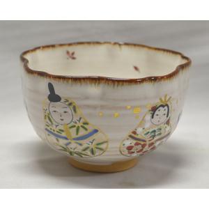 灰釉・雛の絵茶碗 中村良二作|cyadougu-hougadou