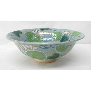 色絵 蓮の絵平茶碗 東山深山作 夏に涼しげな平茶碗です|cyadougu-hougadou