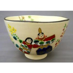 立ち雛の絵茶碗 野村祥雲作|cyadougu-hougadou
