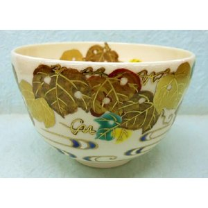 蔦に流水の絵茶碗 上山善峰作|cyadougu-hougadou