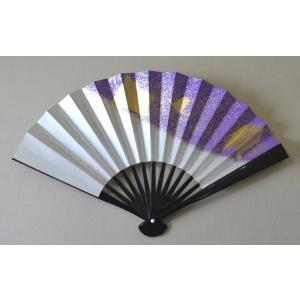 茶道用花月扇子 女性用 黒塗 上 H 紫に金砂子|cyadougu-hougadou