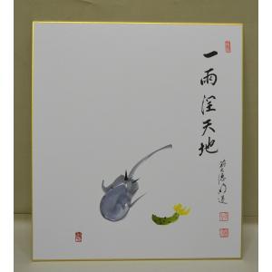 画賛色紙 「一雨潤天地」 野菜の画 戸上明道師 cyadougu-hougadou