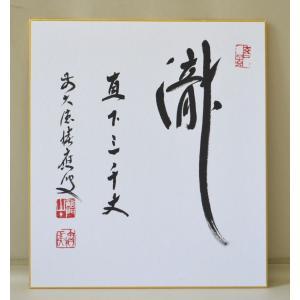 色紙 「瀧直下三千丈」 福本積應師 cyadougu-hougadou