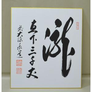 色紙 「瀧直下三千丈」 足立泰道師 cyadougu-hougadou