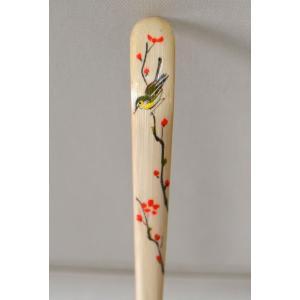 塗り茶杓 クリア 梅に鶯蒔絵|cyadougu-hougadou
