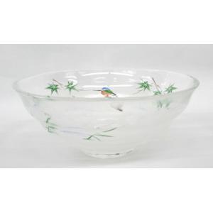 ガラス平茶碗 青楓にカワセミ 片岡六兵衛作 耐熱ガラス使用 夏用の平茶碗 義山平茶碗|cyadougu-hougadou