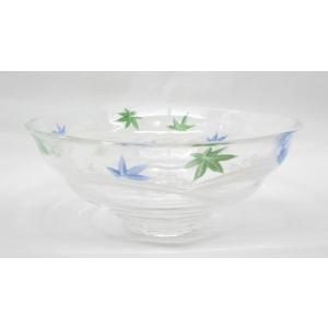 ガラス平茶碗 流れる青楓の絵平茶碗 片岡六兵衛作 耐熱ガラス使用 夏用の平茶碗 義山平茶碗|cyadougu-hougadou