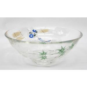 ガラス平茶碗 軒先の風鈴と青楓 片岡六兵衛作 耐熱ガラス使用 夏用の平茶碗 義山平茶碗|cyadougu-hougadou