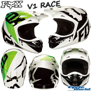 《セール特価》〔FOX〕V1 RACE《ブラック/ホワイト/グリーン》レースヘルメット 2018 SG MFJ 大人用 オフロードヘルメット フォックス ダートフリーク 正規品|cycle-world