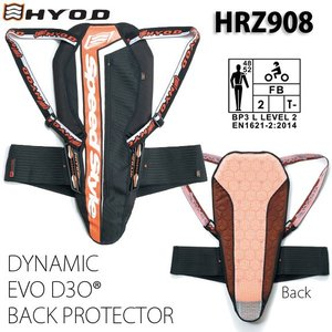 〔HYOD〕HRZ908 DYNAMIC EVO D3O BACK PROTECTOR  ダイナミック エボ D3O バックプロテクター|cycle-world