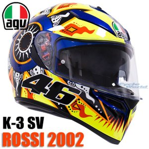〔AGV〕K-3 SV ROSSI 2002 バレンティーノロッシ 46 レプリカ インナーバイザー付き ピンロック 曇り止め K3SV K-3SV 国内正規品 ダイネーゼジャパン|cycle-world