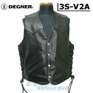〔DEGNER〕 3S-V2A レザーベスト 《XXL〜XXXLサイズ》 ソフトカウ 本革 牛革 メンズ 大きめサイズ デグナー バイク用品|cycle-world