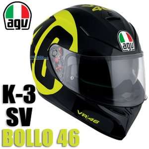 【AGV】K-3 SV BOLLO46 バレンティーノ・ロッシ 46 インナーバイザー付き ピンロック 曇り止め K3SV K-3SV 国内正規品 ダイネーゼジャパン|cycle-world