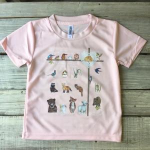 アニマル(動物)Tシャツピンク こどもサイズ110(吸汗速乾ドライTシャツ4.4オンス)|cyoimaru