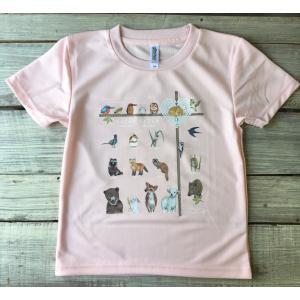 アニマル(動物)Tシャツピンク こどもサイズ120(吸汗速乾ドライTシャツ4.4オンス)|cyoimaru
