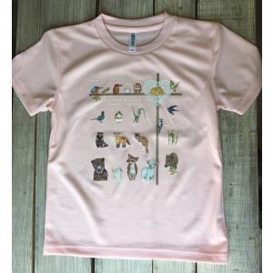アニマル(動物)Tシャツピンク こどもサイズ130(吸汗速乾ドライTシャツ4.4オンス)|cyoimaru