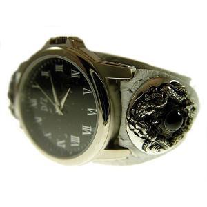 【ブレスウォッチ ドラゴンシルバーコンチョ 革腕時計 限定ホワイト】 d-bijin